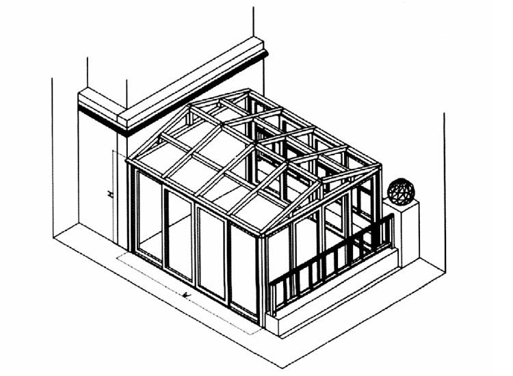 人字顶阳光房结构图-铝合金十大品牌